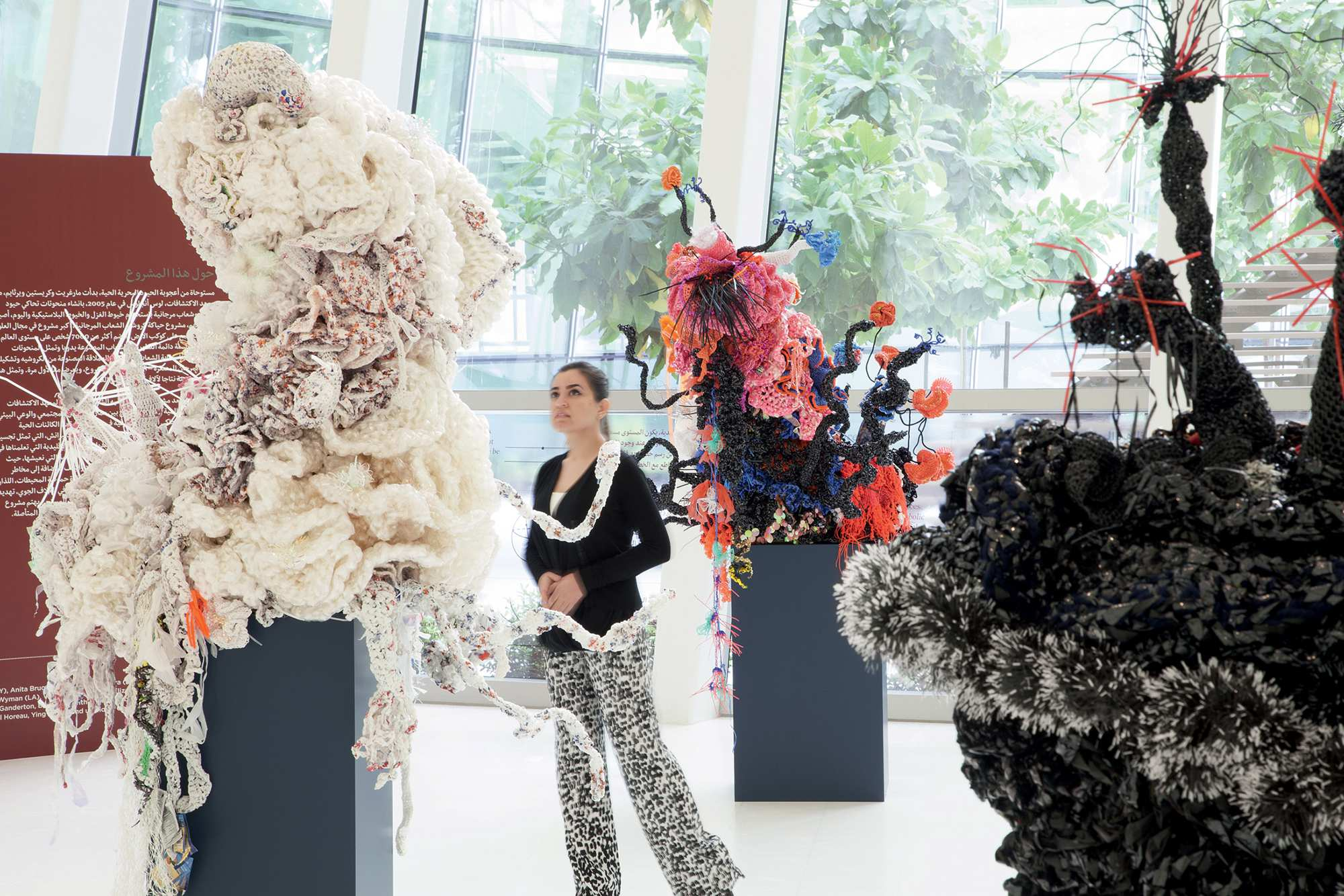 Woman looking at Crochet Coral Reef exhibition