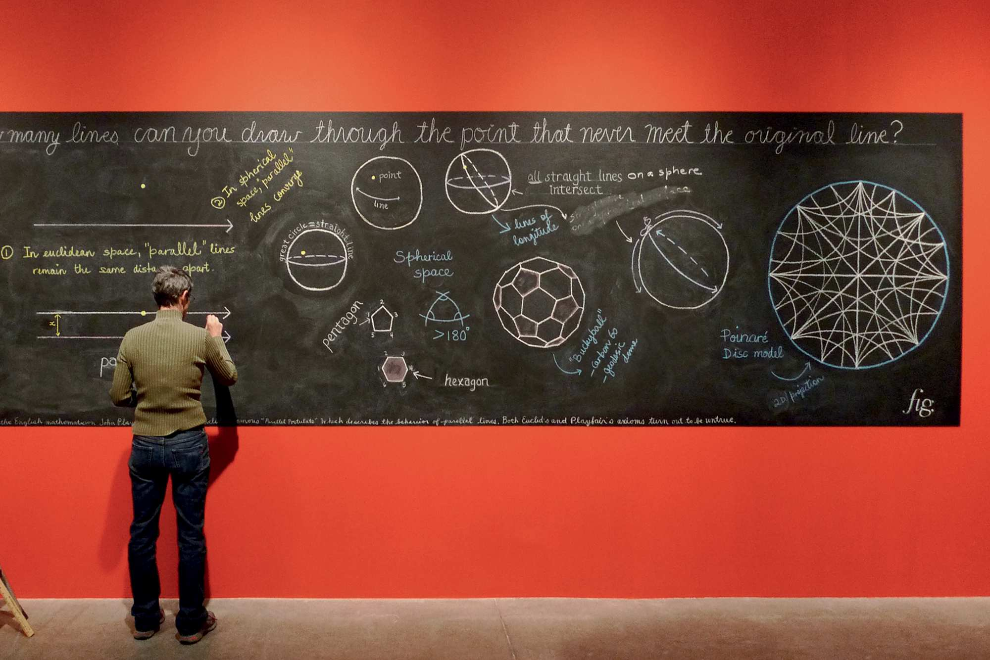 A woman writing on a blackboard with scientific drawings
