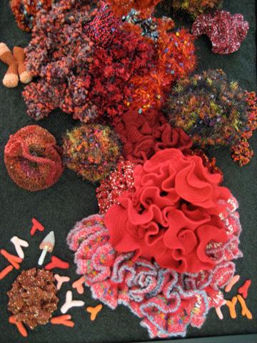 Detail of crochet coral reef sculpture.