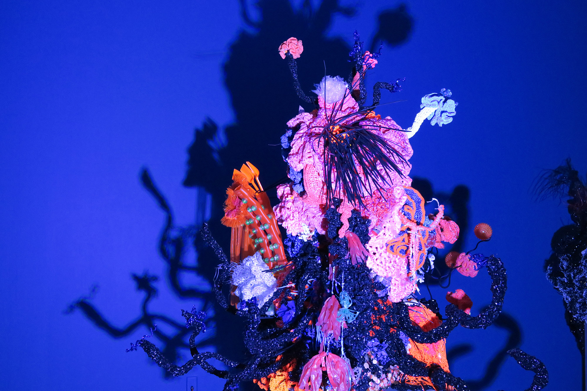 Reef sculpture against intense blue background