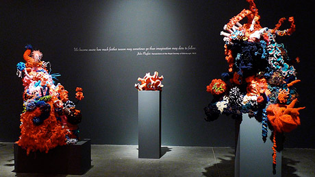 Three crochet coral reef sculptures on plinths in a dark gallery.