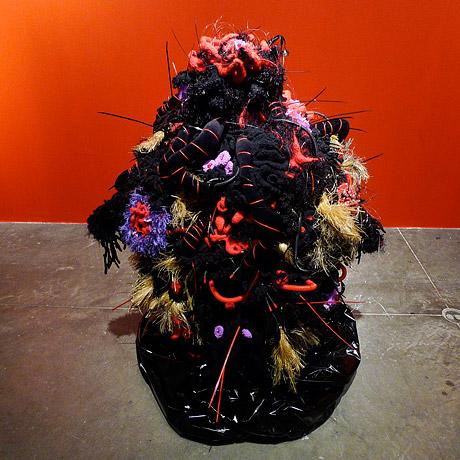Crochet coral reef sculpture.