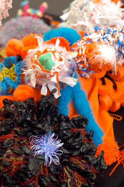 Detail of crochet coral sculpture.