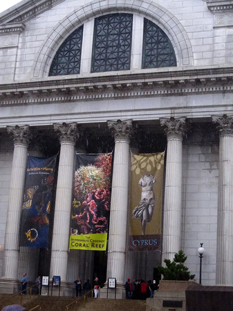Entrance to a large museum with big columns on the facade.