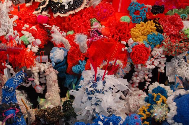 Detail of crochet coral reef sculptures.