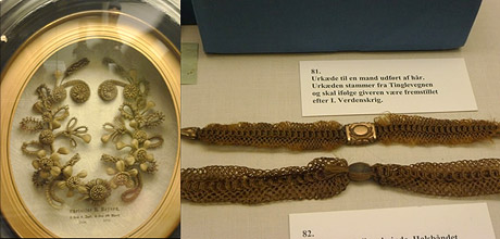 Two images side by side. At left: a small decorative arrangement of human hair in a round frame. At right: two long bracelets made of woven hair in a display case.