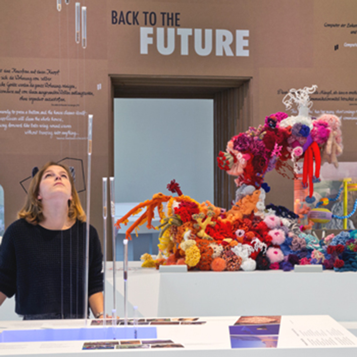 A girl looks at a vitrine containing a section of the satellite Crochet Coral Reef