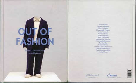 Front and back cover of an exhibition catalogue that features a men's suit on display