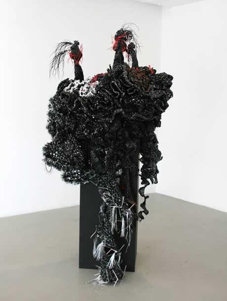 Black crochet coral reef sculpture