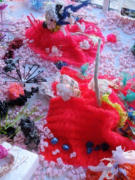 Detail of plastic crochet coral reef sculpture.