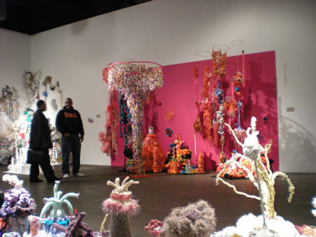Installation view of crochet coral reef sculptures in gallery space.