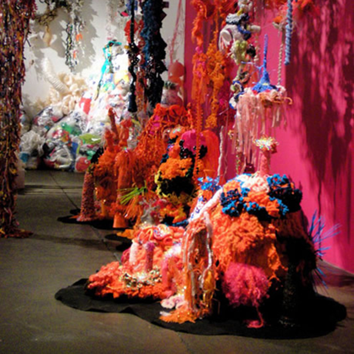 Installation view of crochet coral reef in gallery.