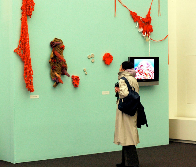 Person looking at crochet sculptures on the wall.