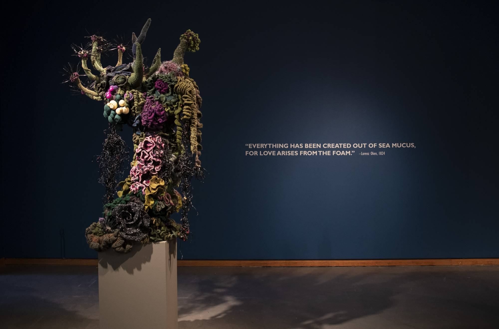 Reef sculpture in gallery with the walltext: