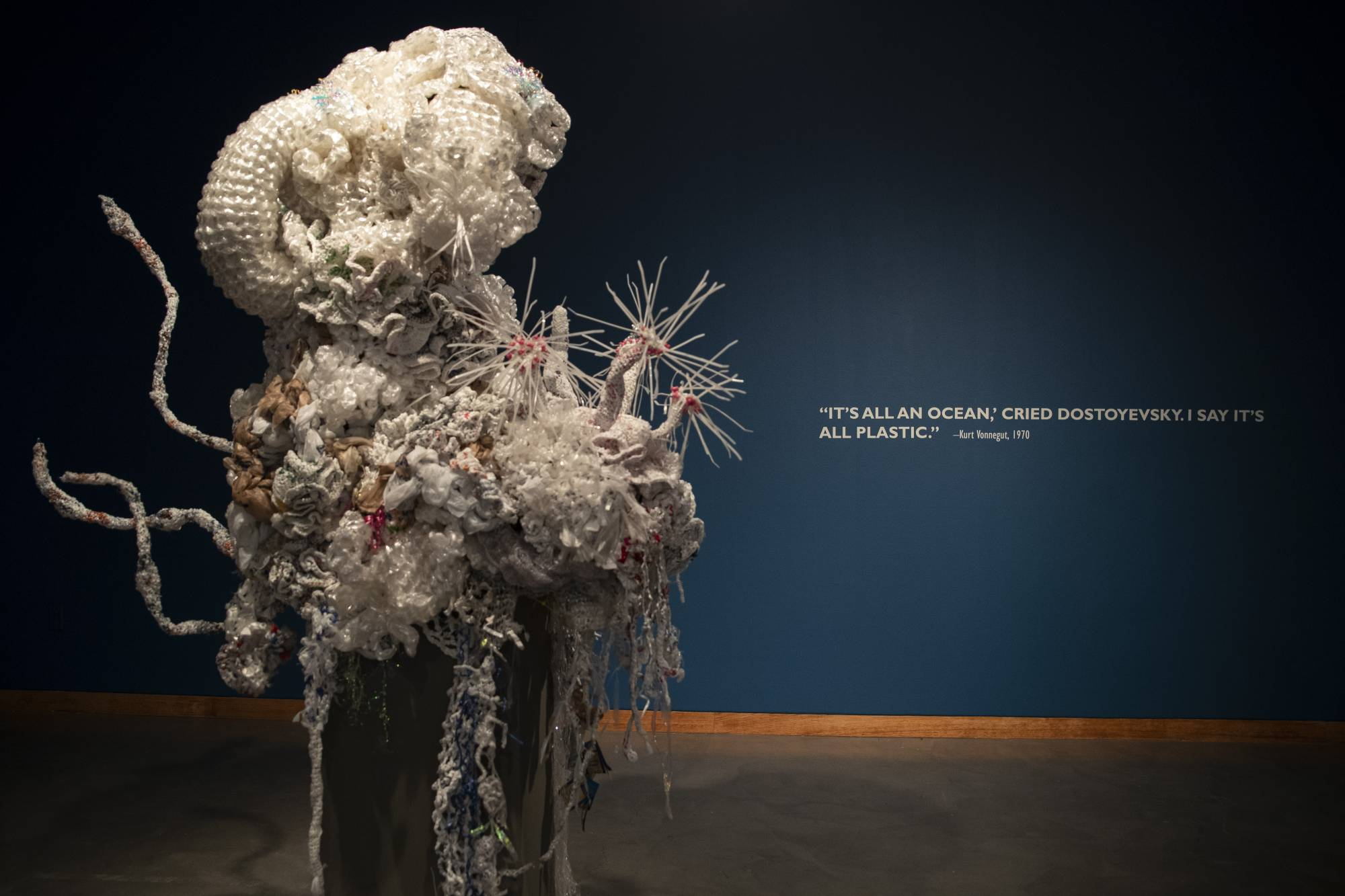 Reef sculture in gallery with wall text: