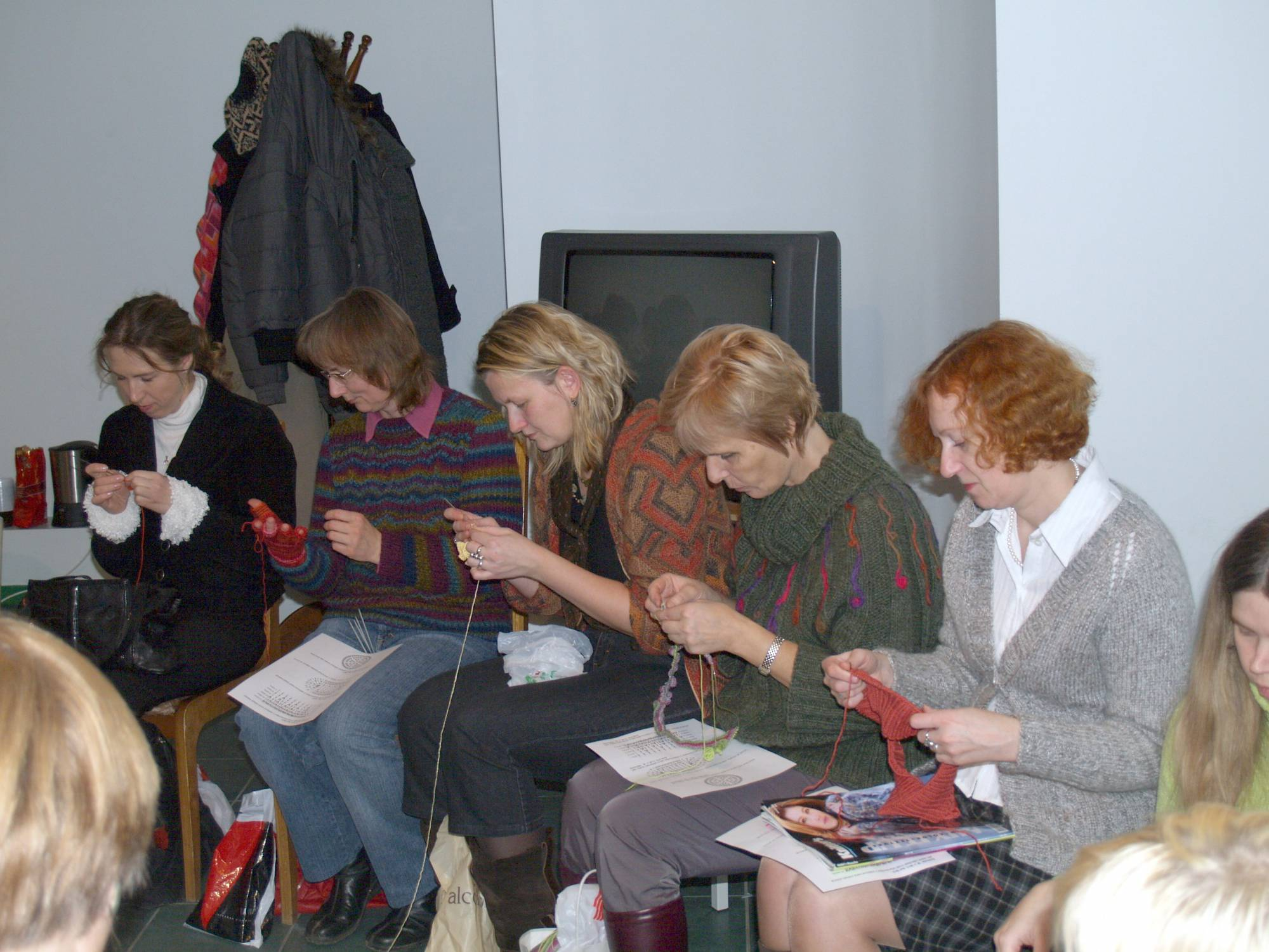 A group of women crocheting