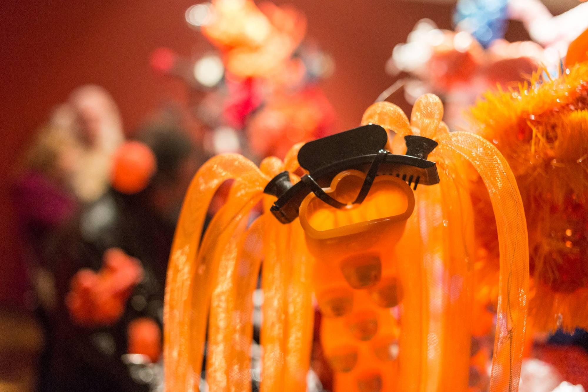 Orange plastic tubing
