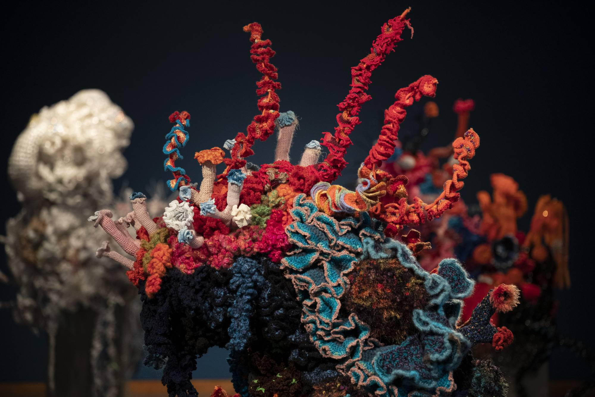coral sculpture with tentacles out the top