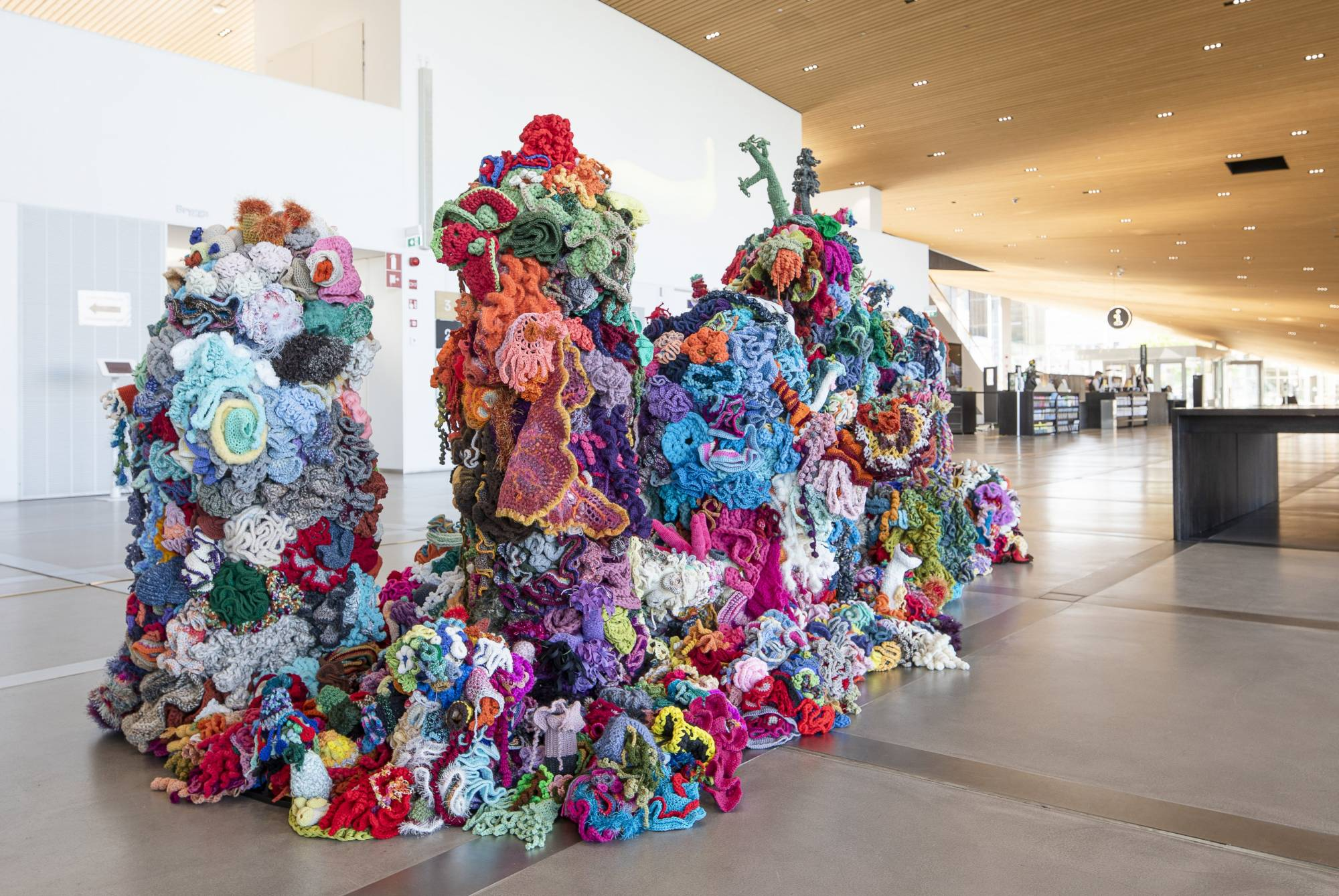 Crochet coral reef installed at Oodi Library in Helsinki