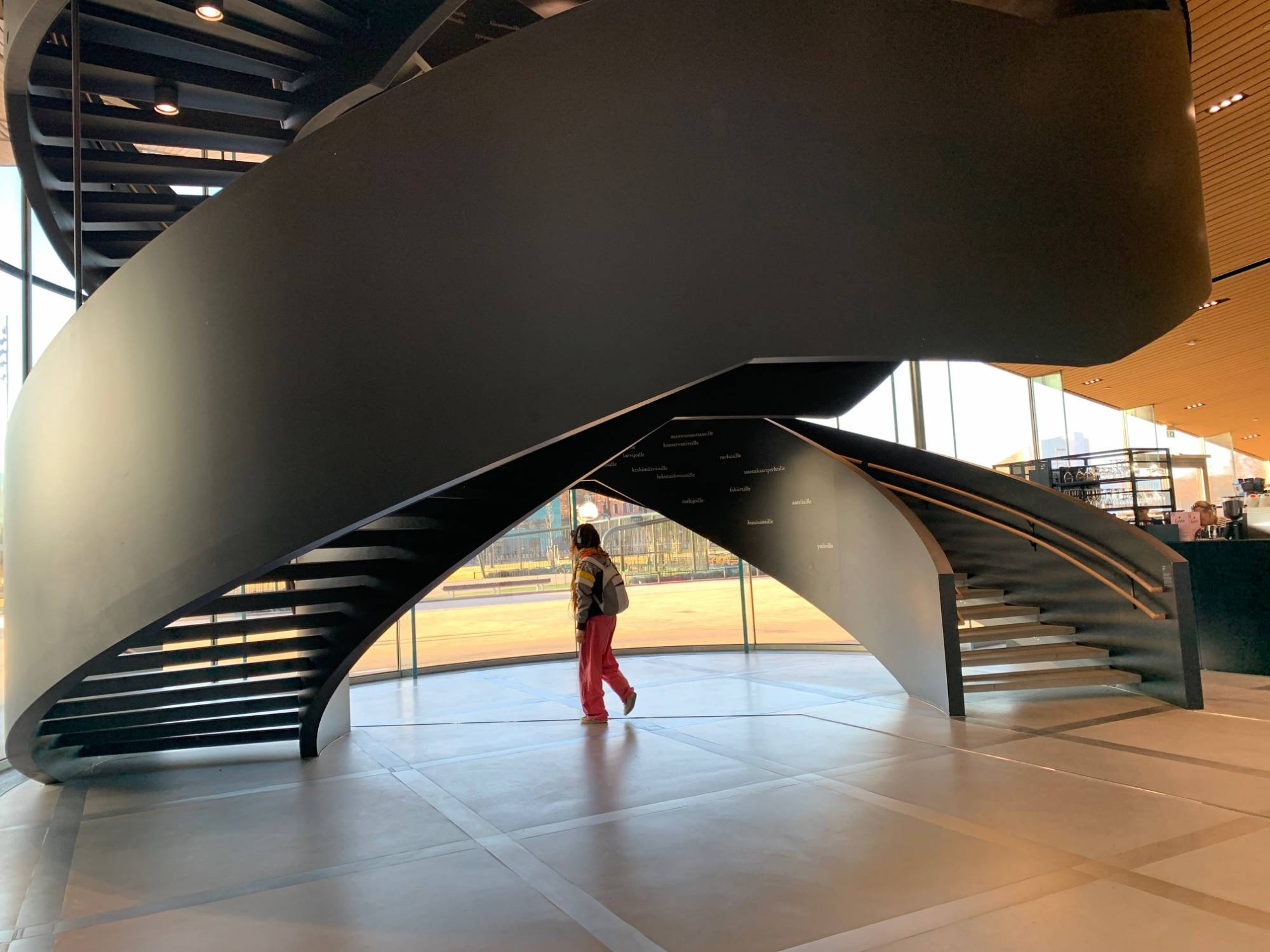 Architecural image of helical staircase at Oodi Library in Helsinki