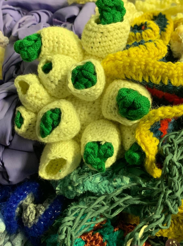 closeup of crochet corals